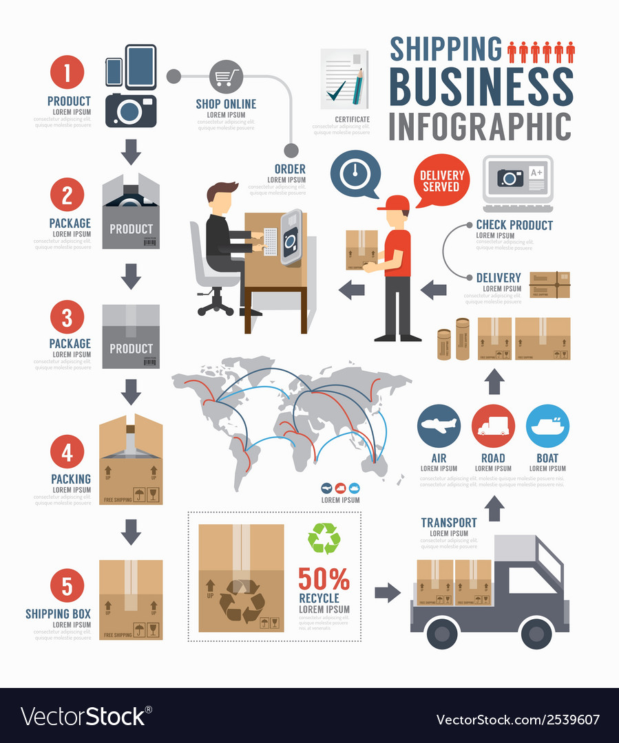 Infographic shipping world business template vector | Price: 3 Credit (USD $3)