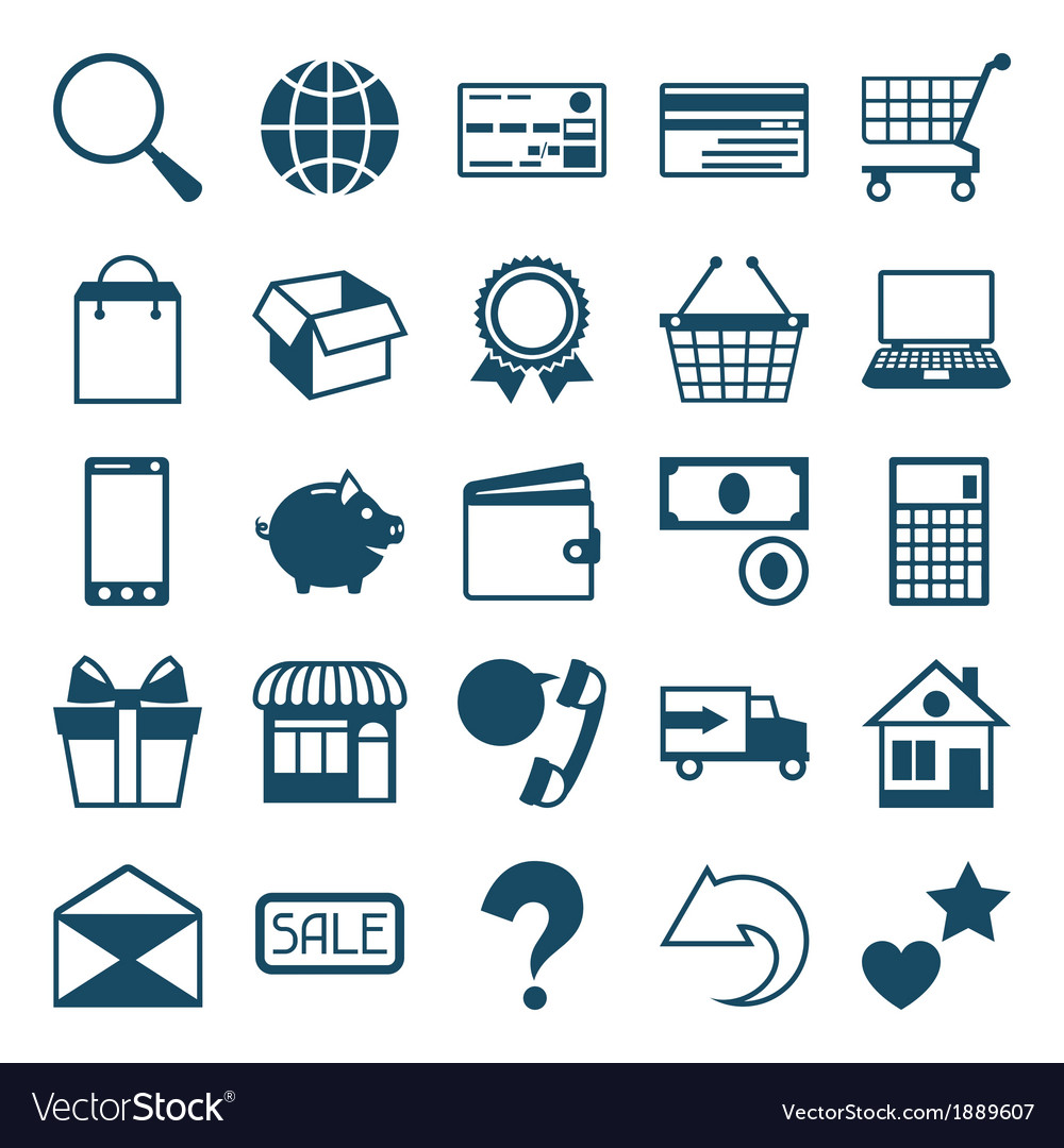 Internet shopping icon set in flat design style vector | Price: 1 Credit (USD $1)