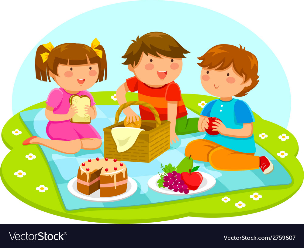 Kids on a picnic vector | Price: 1 Credit (USD $1)
