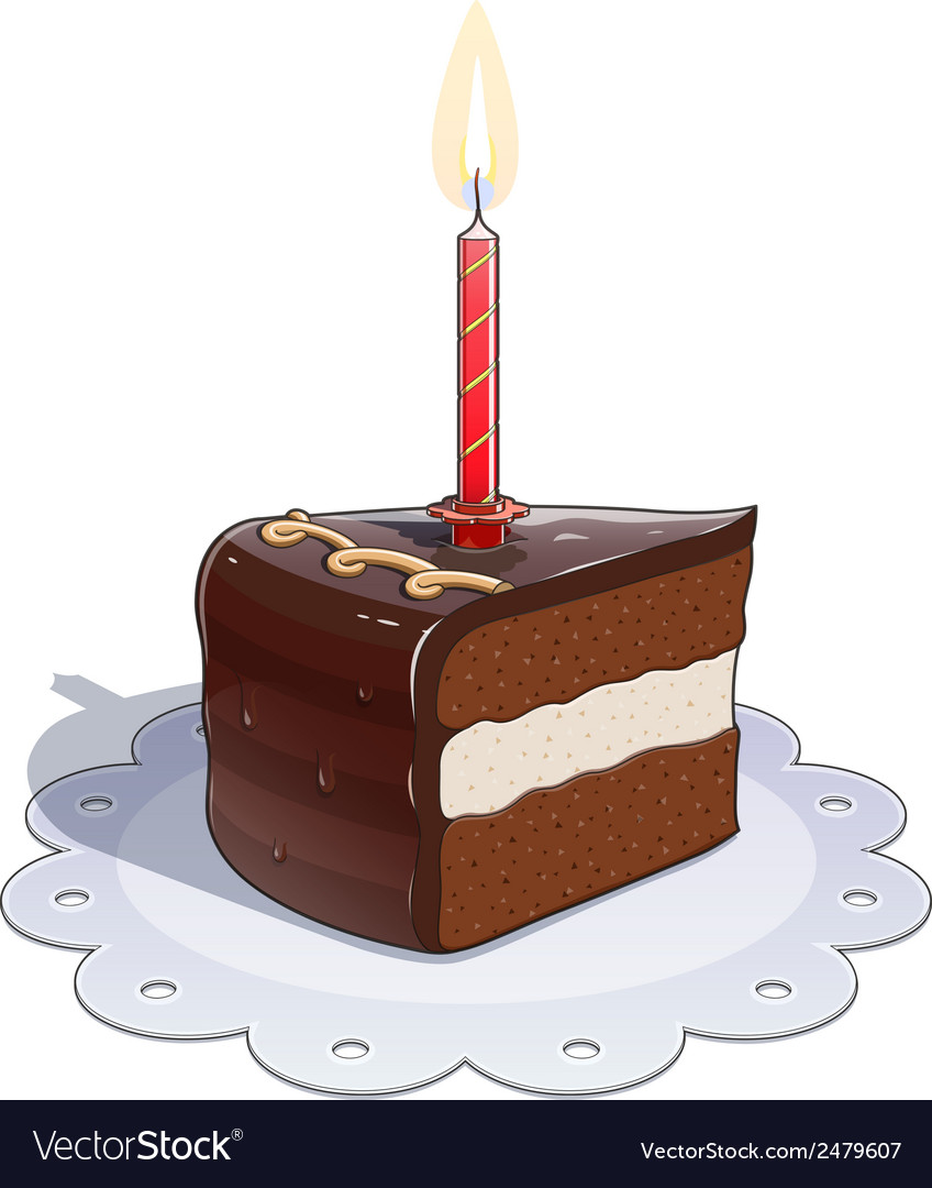 Piece of chocolate cake with vector | Price: 1 Credit (USD $1)