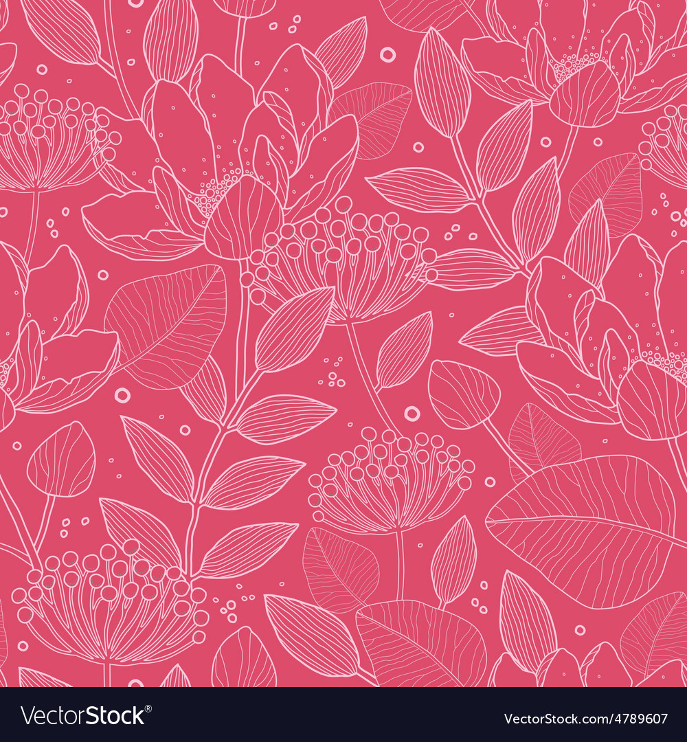 Red white line art flowers seamless pattern vector | Price: 1 Credit (USD $1)