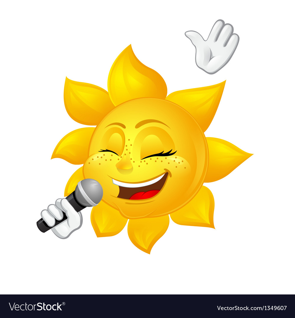 Sun with freckles is singing vector | Price: 1 Credit (USD $1)