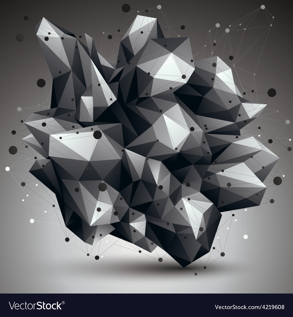 Asymmetric 3d abstract object with connected lines vector | Price: 1 Credit (USD $1)