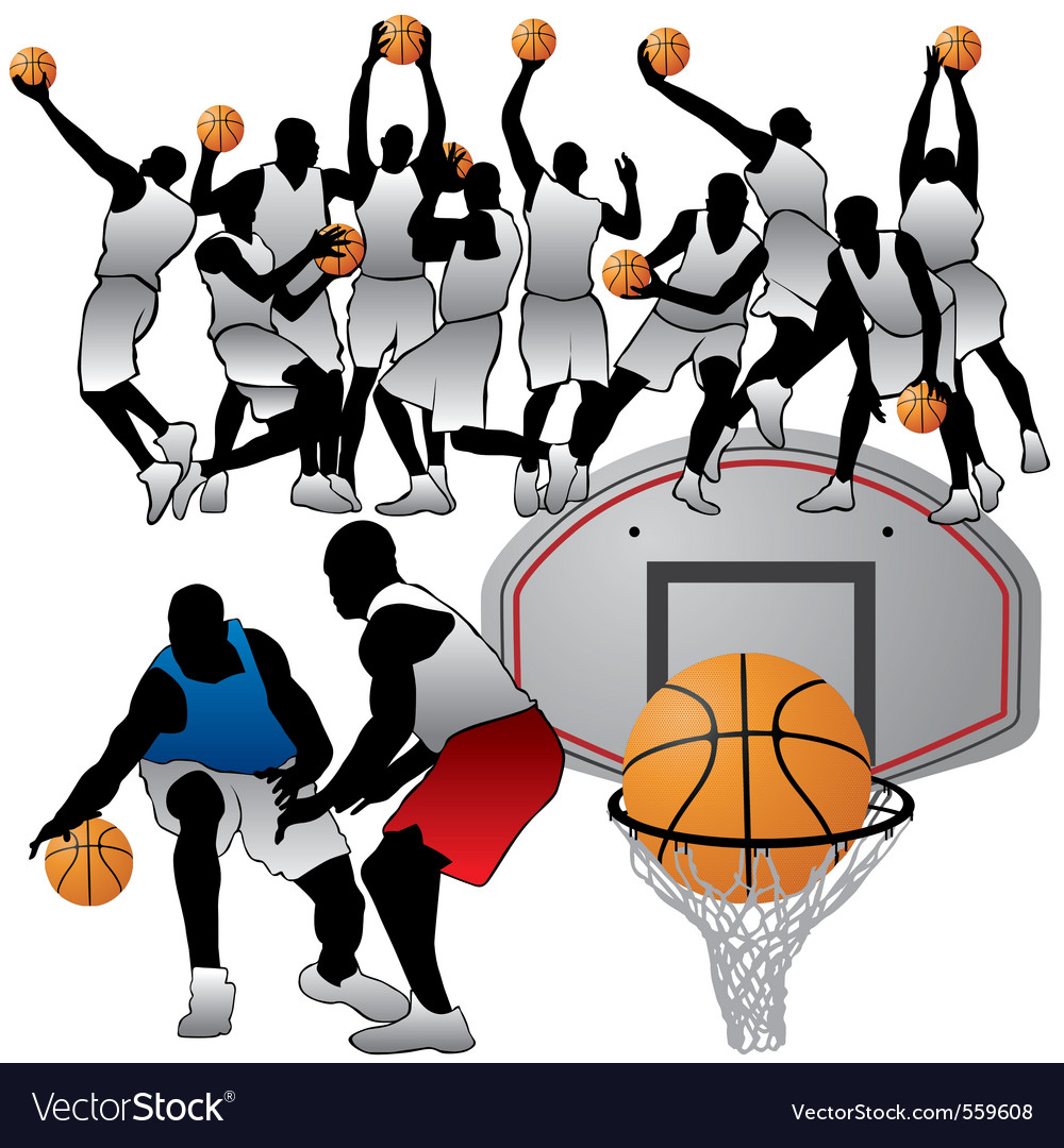Basketball players silhouettes set vector | Price: 1 Credit (USD $1)