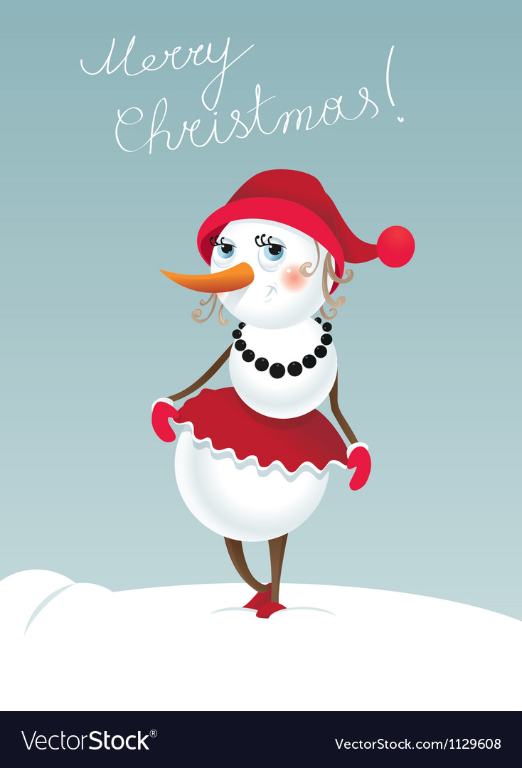 Christmas snowman girl vector | Price: 1 Credit (USD $1)