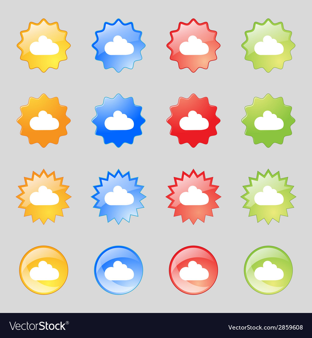 Cloud sign icon data storage symbol set colourful vector | Price: 1 Credit (USD $1)