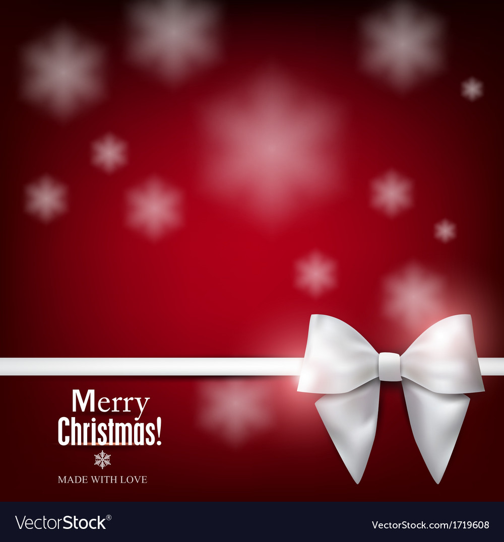 Elegant christmas background with white bow vector | Price: 1 Credit (USD $1)
