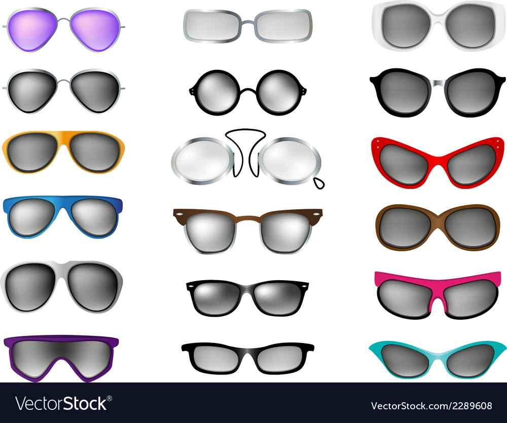 Glasses set isolated white background vector | Price: 1 Credit (USD $1)