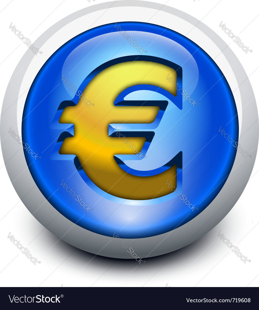 Glassy button euro vector | Price: 1 Credit (USD $1)