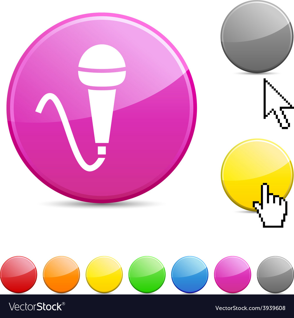Mic glossy button vector | Price: 1 Credit (USD $1)