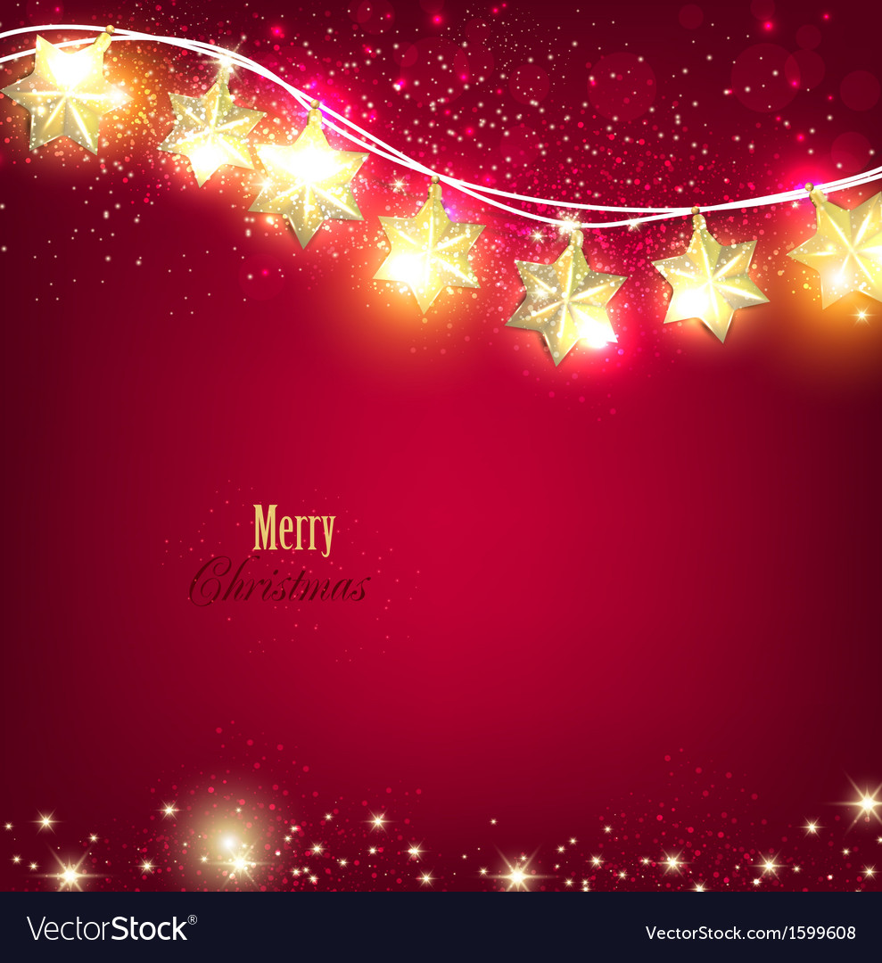 Red christmas background with luminous garland vector | Price: 1 Credit (USD $1)