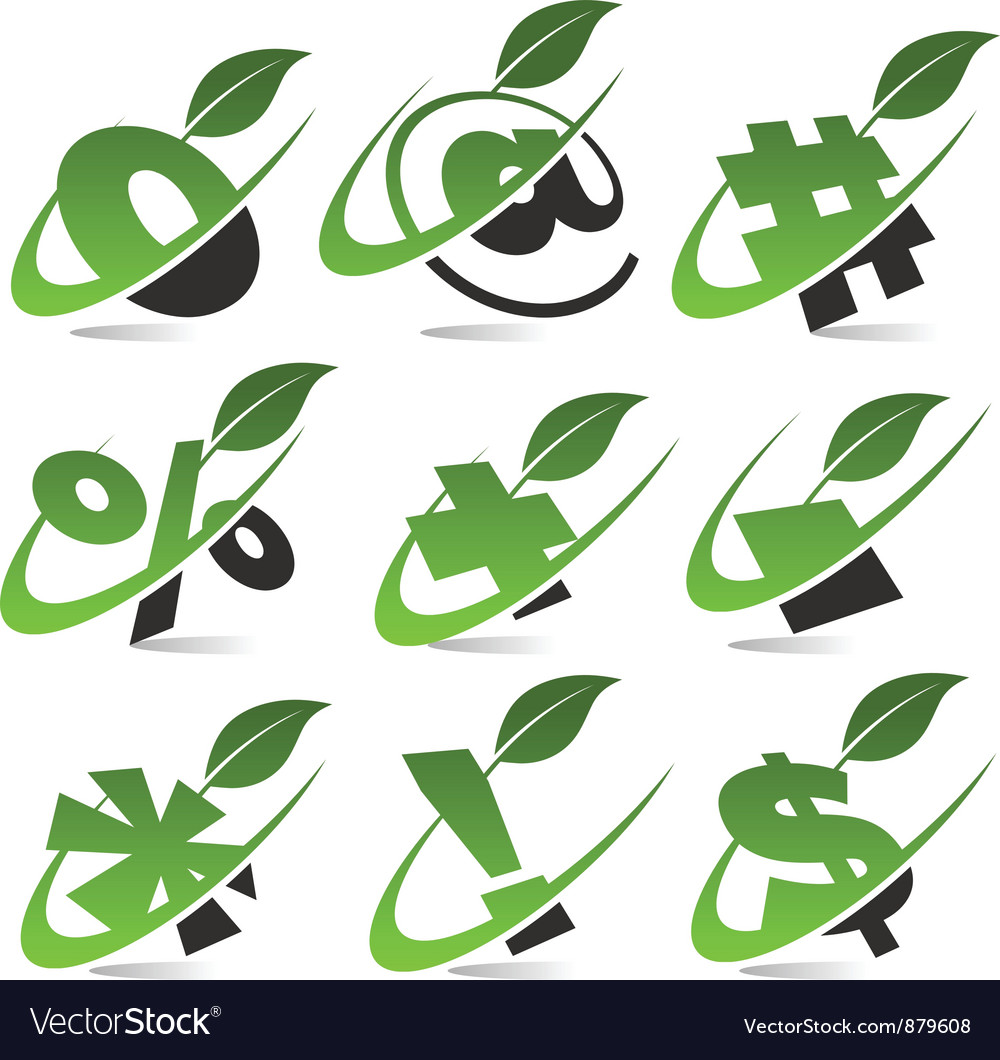 Swoosh green symbols logo set5 vector | Price: 1 Credit (USD $1)