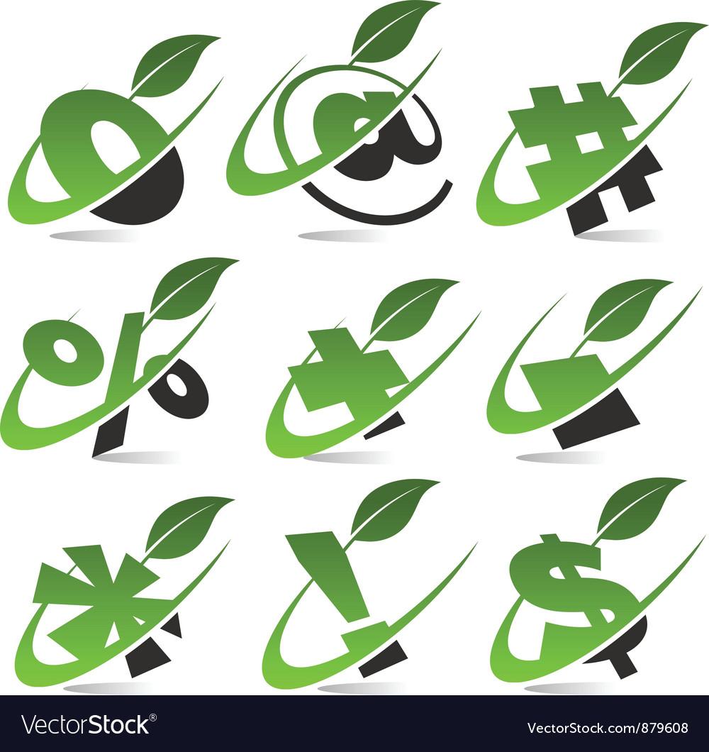 Swoosh green symbols set5 vector | Price: 1 Credit (USD $1)