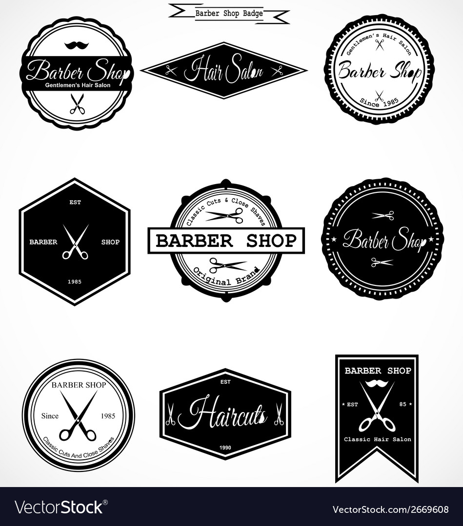 Vintage barber shop labels vector | Price: 1 Credit (USD $1)