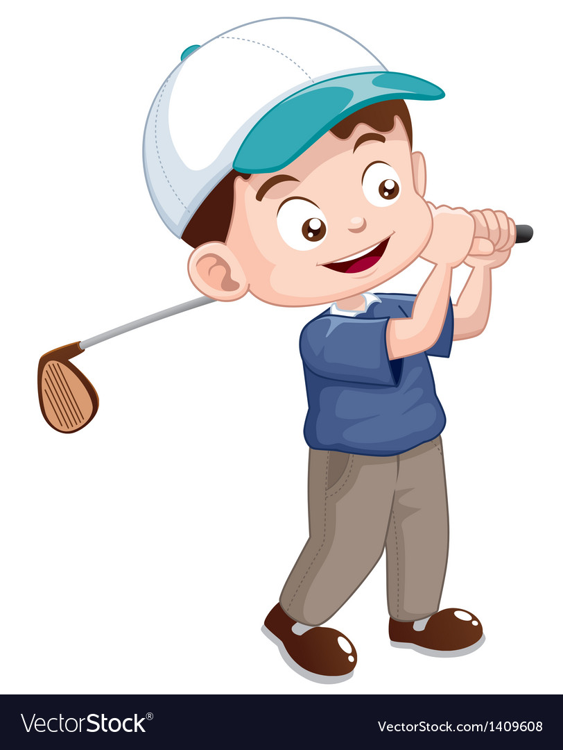 Young golf player vector | Price: 1 Credit (USD $1)