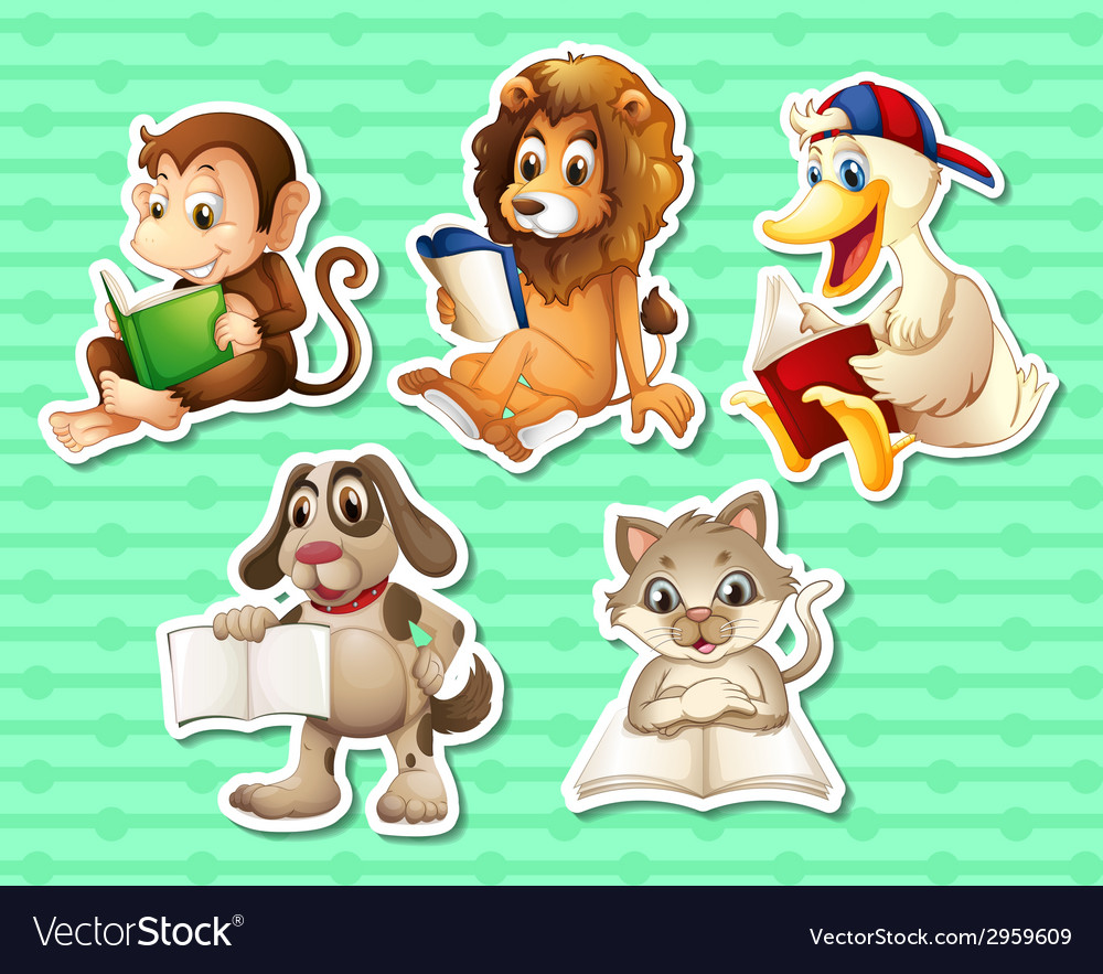 Animals and book vector   Price: 1 Credit (USD $1)