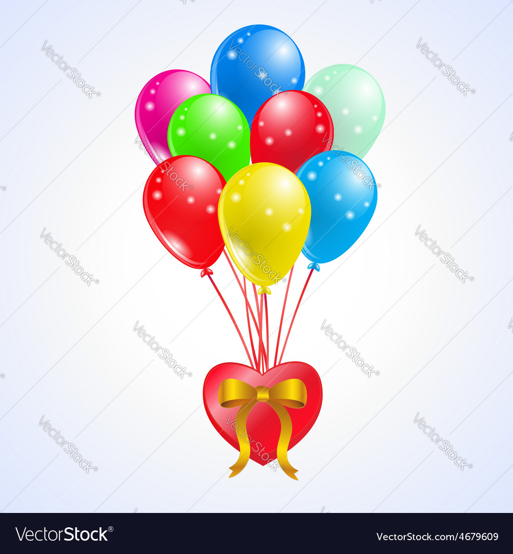 Coloured party balloons whit heart vector | Price: 1 Credit (USD $1)