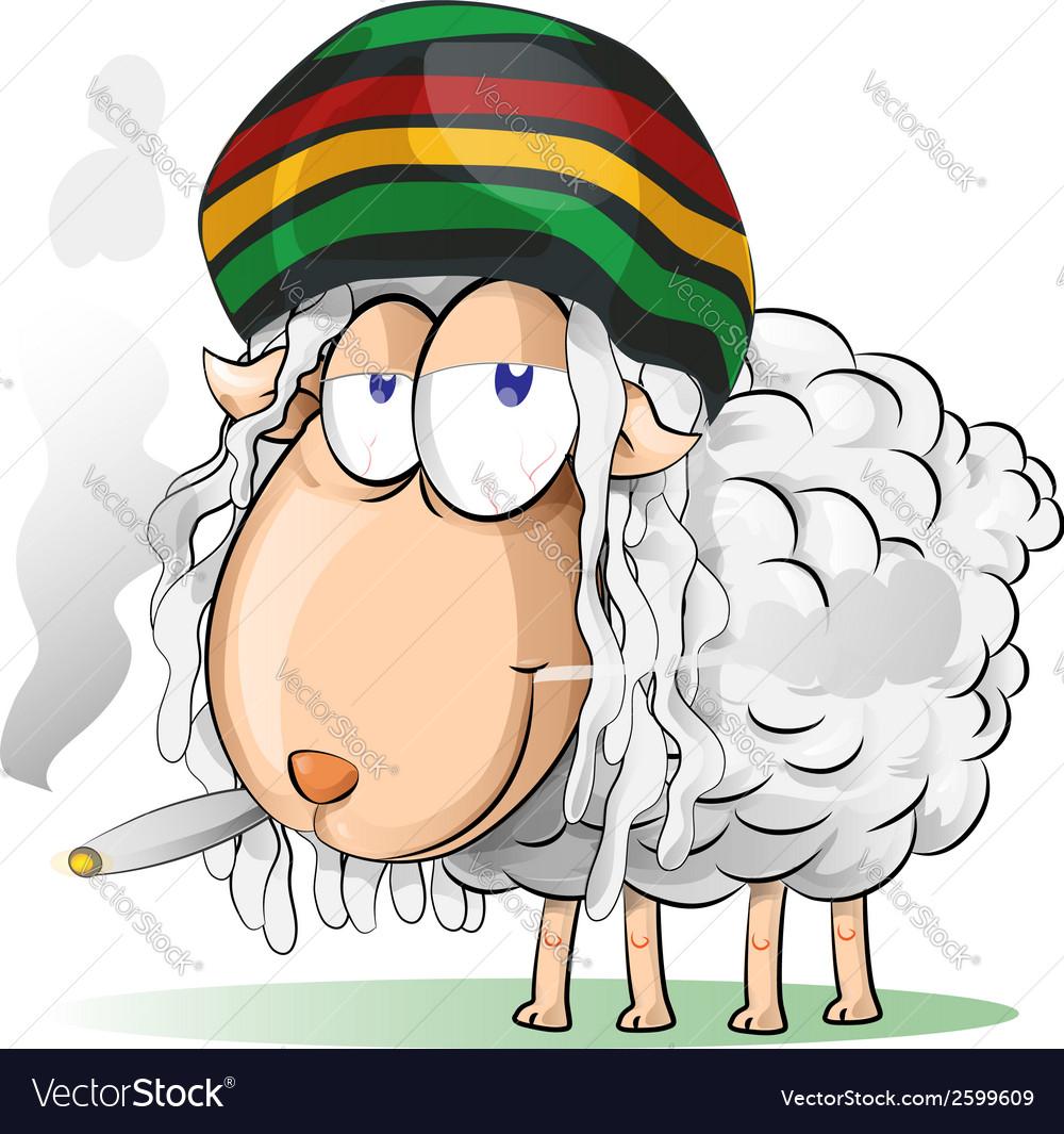 Crazy jamaican sheep cartoon vector | Price: 1 Credit (USD $1)