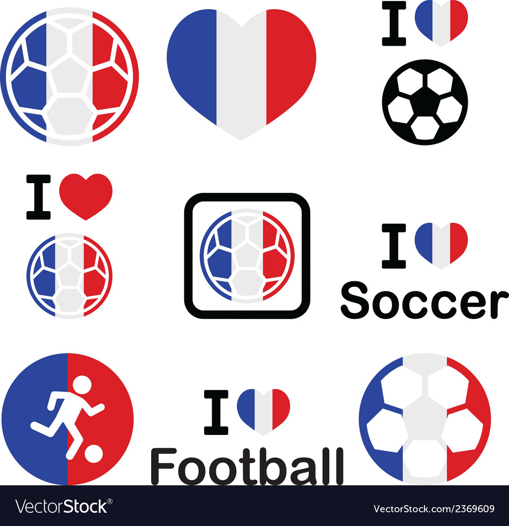 I love french football soccer icons set vector | Price: 1 Credit (USD $1)