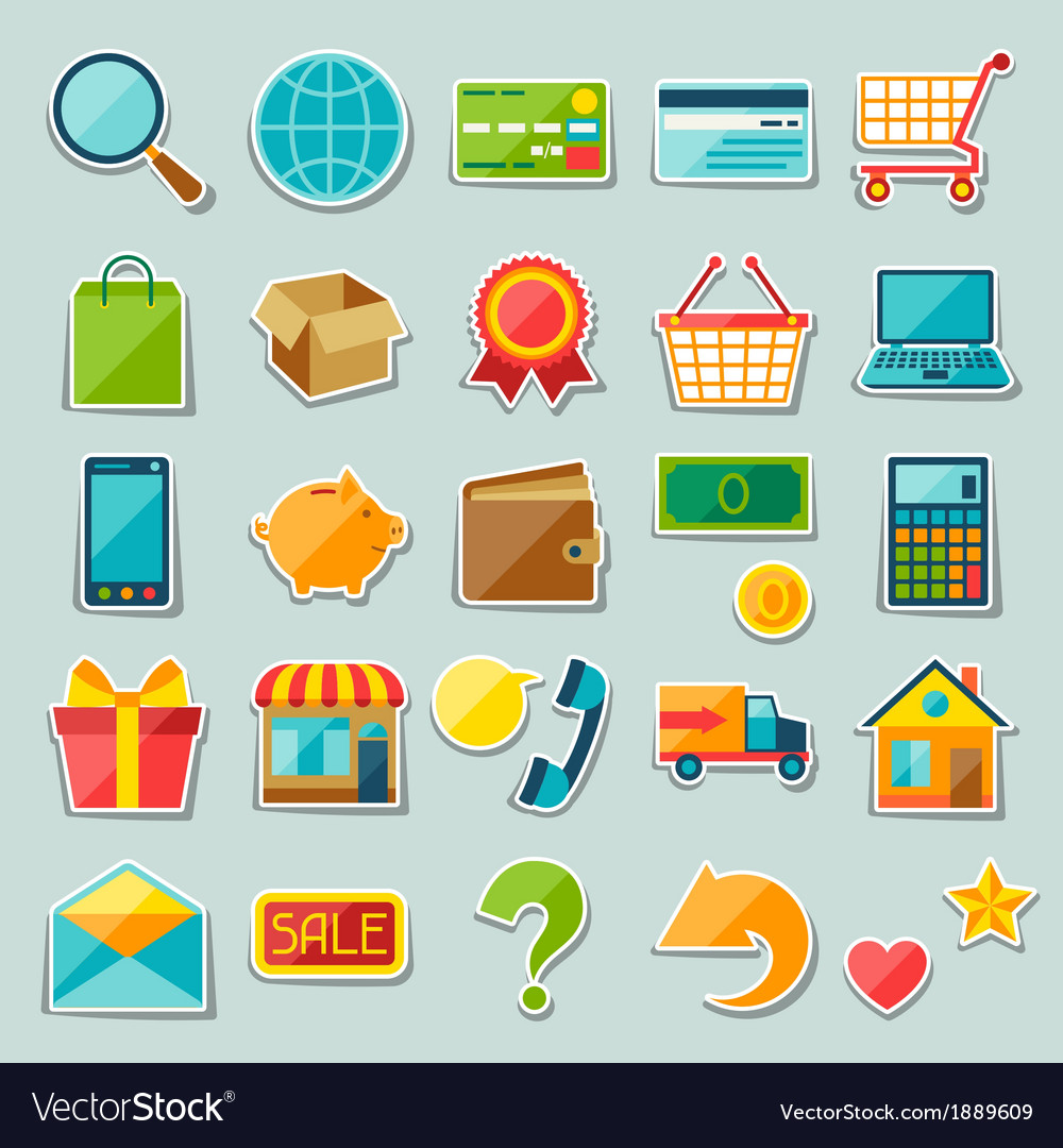Internet shopping sticker icon set vector | Price: 1 Credit (USD $1)
