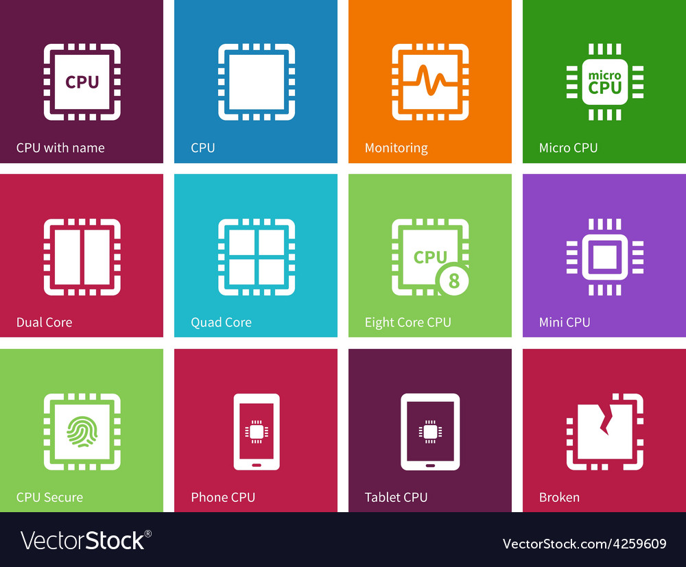 Processor computer hardware icons on color vector | Price: 1 Credit (USD $1)