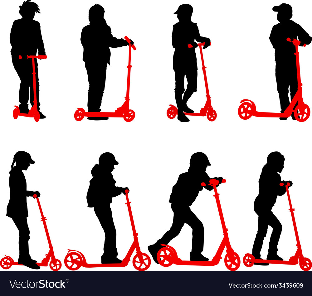 Set of silhouettes of children riding on scooters vector | Price: 1 Credit (USD $1)