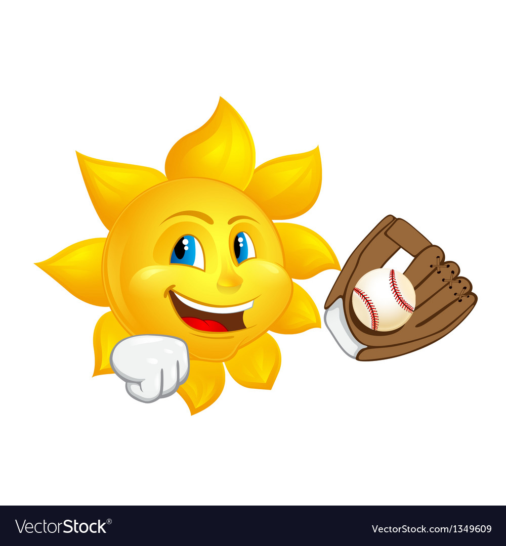 Sun with glove is catching ball vector | Price: 1 Credit (USD $1)