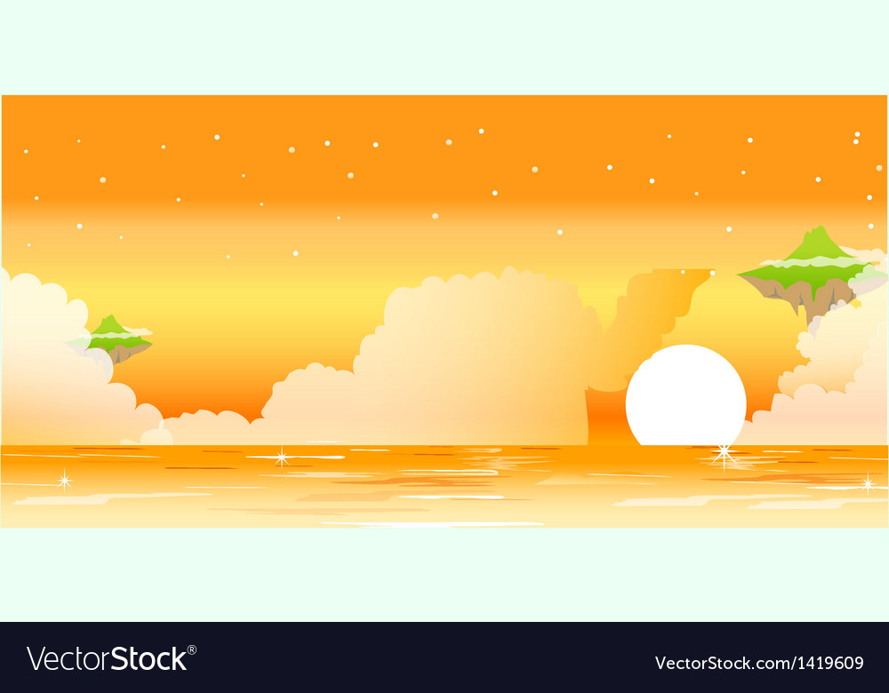 Sunset and ocean vector | Price: 1 Credit (USD $1)