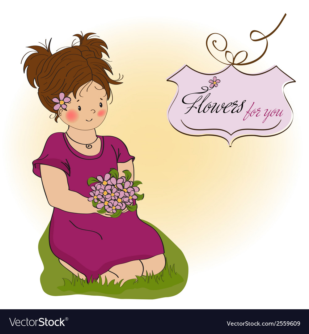 Young girl with a bouquet of flowers vector | Price: 1 Credit (USD $1)