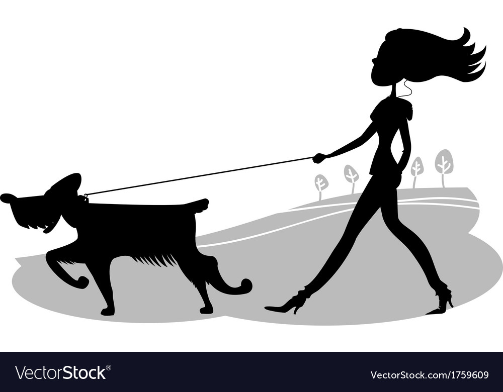 Young woman walking the dog black silhouette vector | Price: 1 Credit (USD $1)