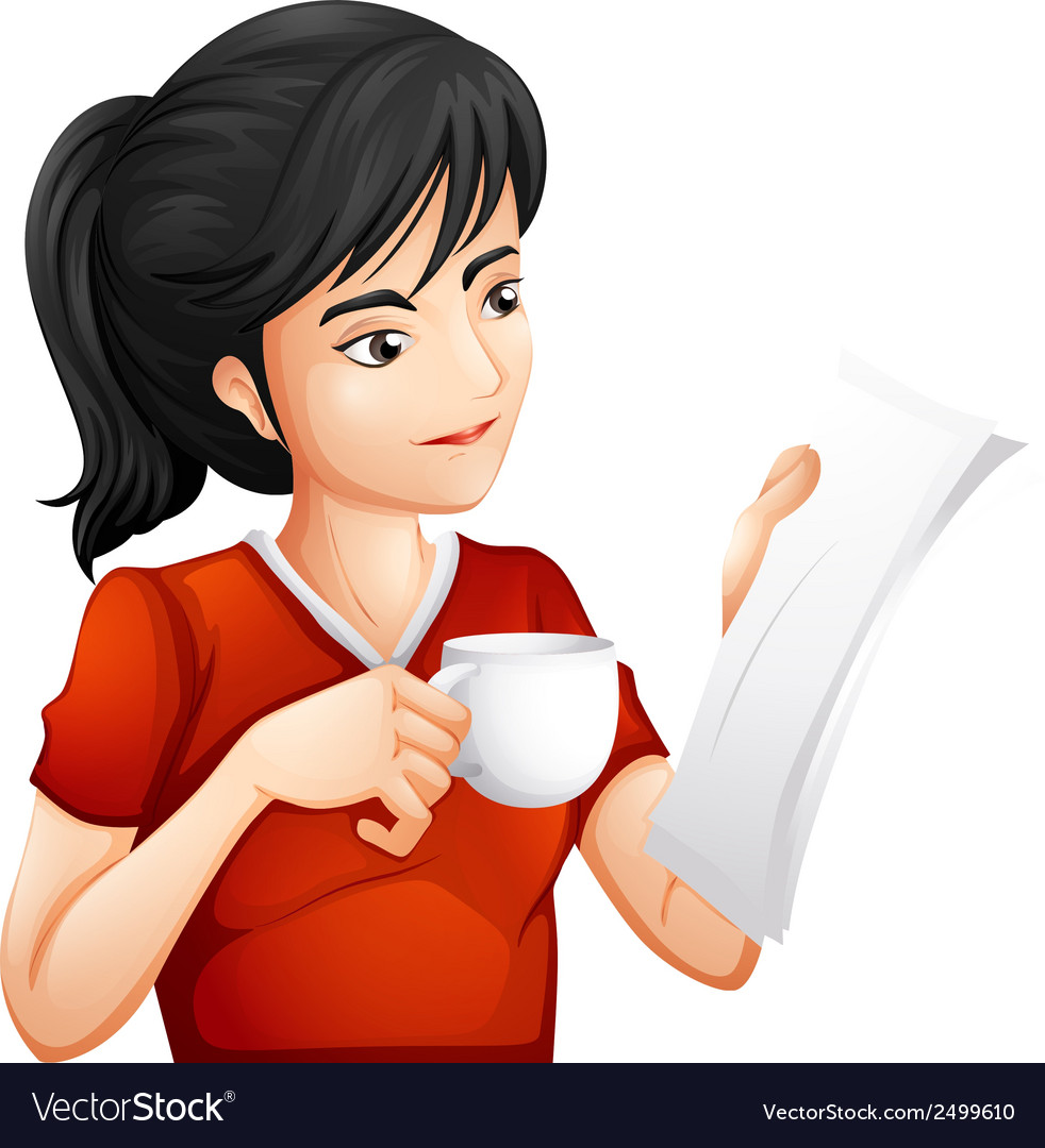 A woman holding a cup of tea while reading vector | Price: 1 Credit (USD $1)