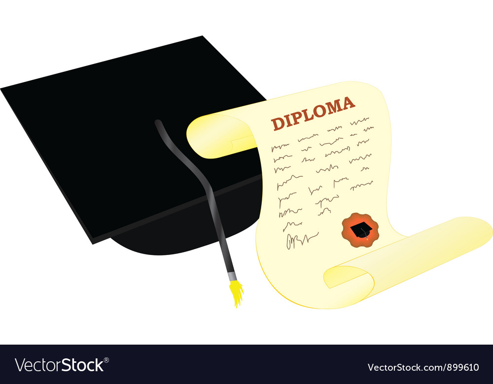 Academic hat with diploma vector | Price: 1 Credit (USD $1)