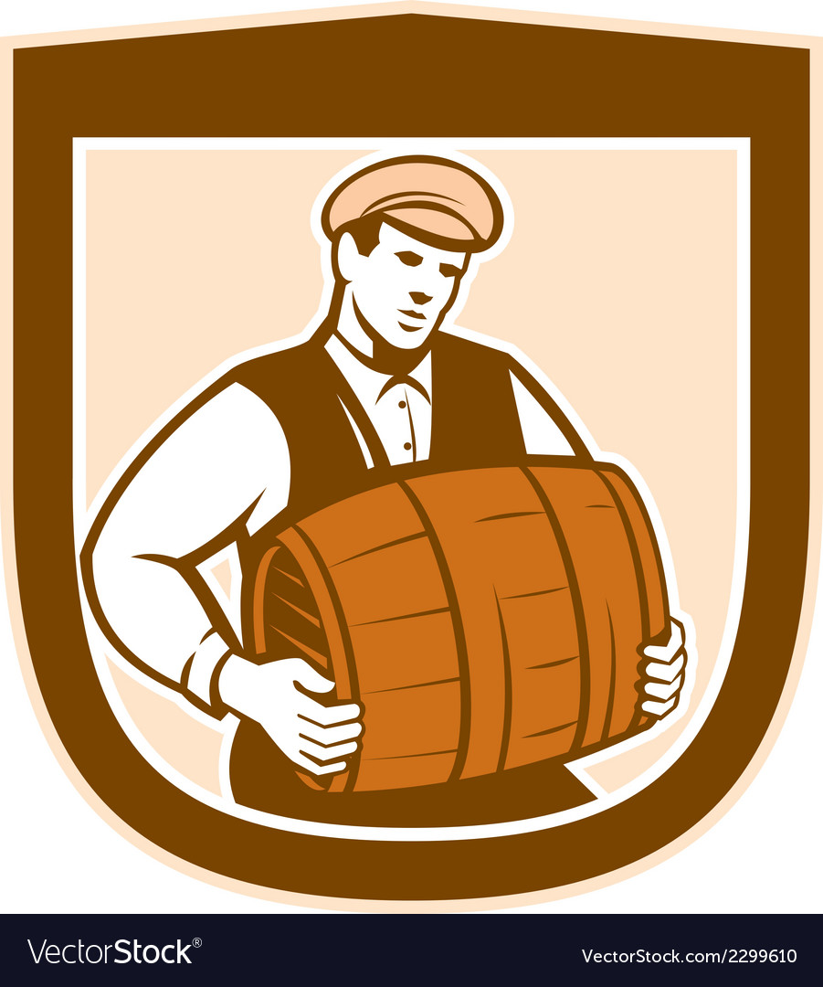 Bartender carrying keg shield retro vector | Price: 1 Credit (USD $1)