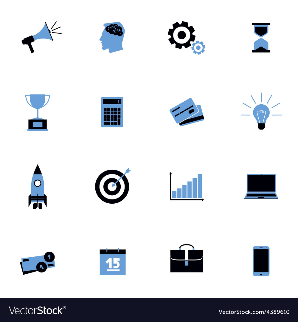 Black and blue business icons flat set vector | Price: 1 Credit (USD $1)