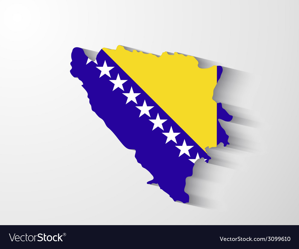 Bosnia and herzegovina map with shadow effect vector | Price: 1 Credit (USD $1)