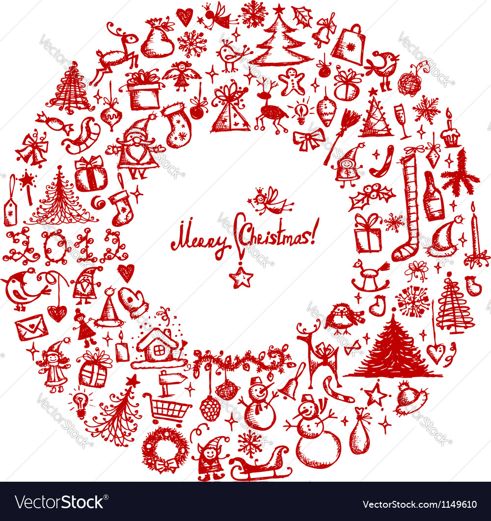 Christmas wreath sketch drawing for your design vector | Price: 1 Credit (USD $1)