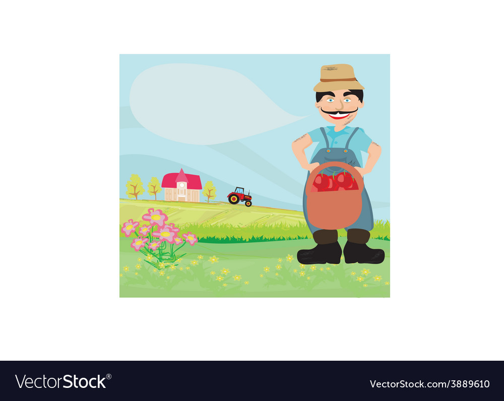 Farmer with a basket of apples vector | Price: 1 Credit (USD $1)