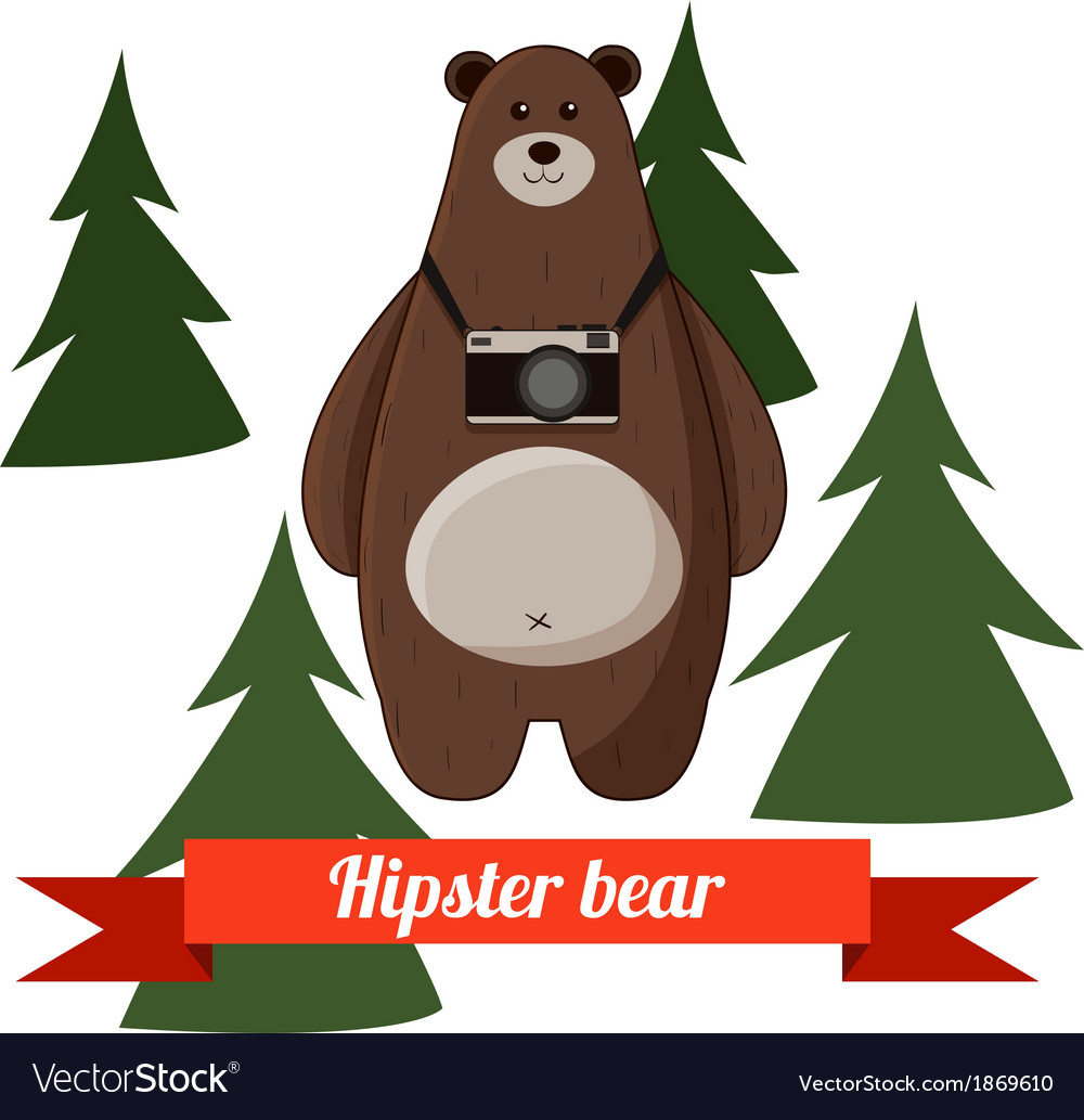 Funny cartoon hipster bear photographer background vector   Price: 1 Credit (USD $1)