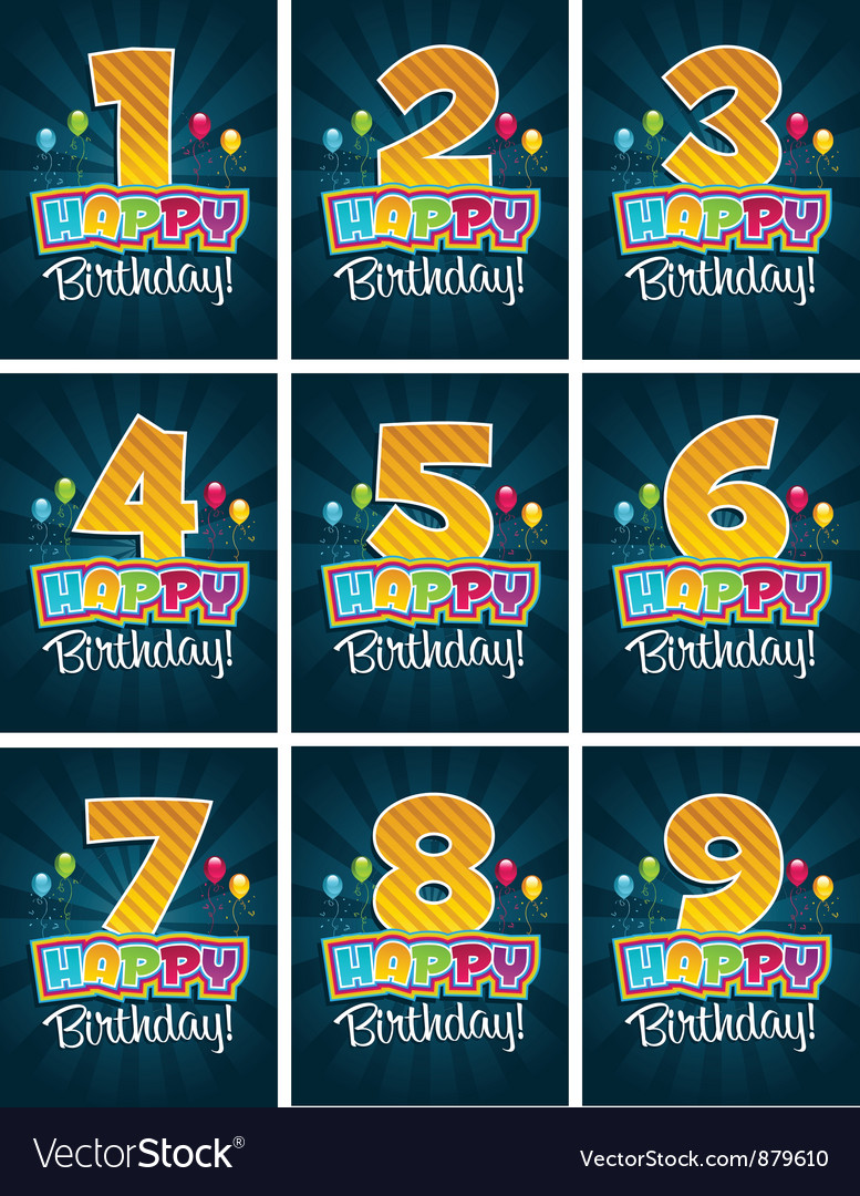 Happy birthday numbers vector | Price: 1 Credit (USD $1)