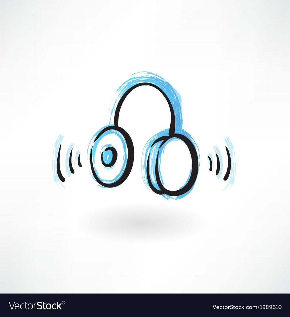 Headphones grunge icon vector | Price: 1 Credit (USD $1)