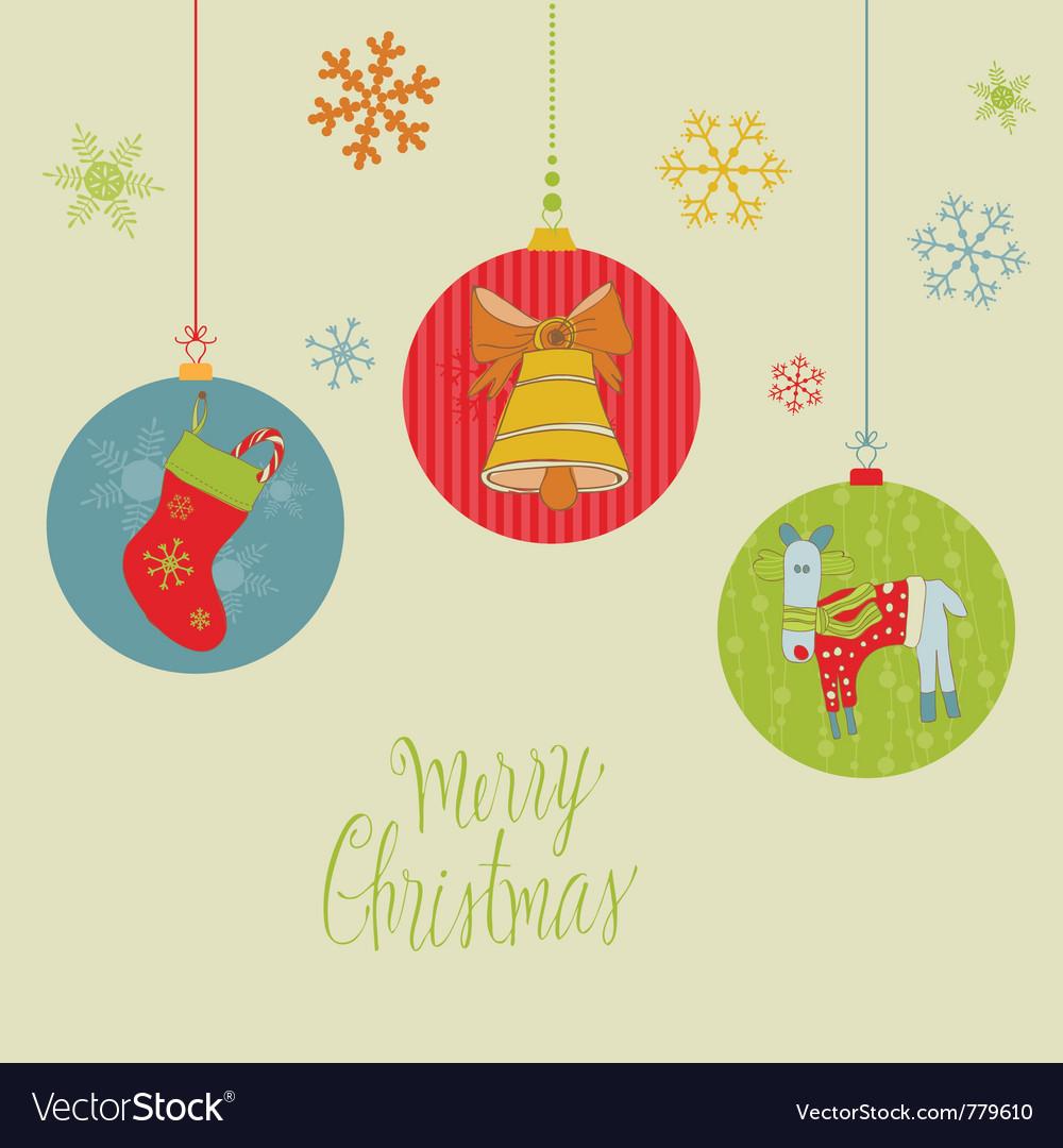 Retro christmas balls card vector | Price: 1 Credit (USD $1)
