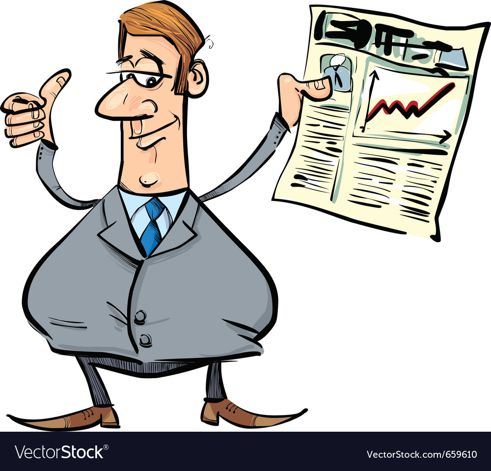 Satisfied businessman with newspaper vector | Price: 3 Credit (USD $3)