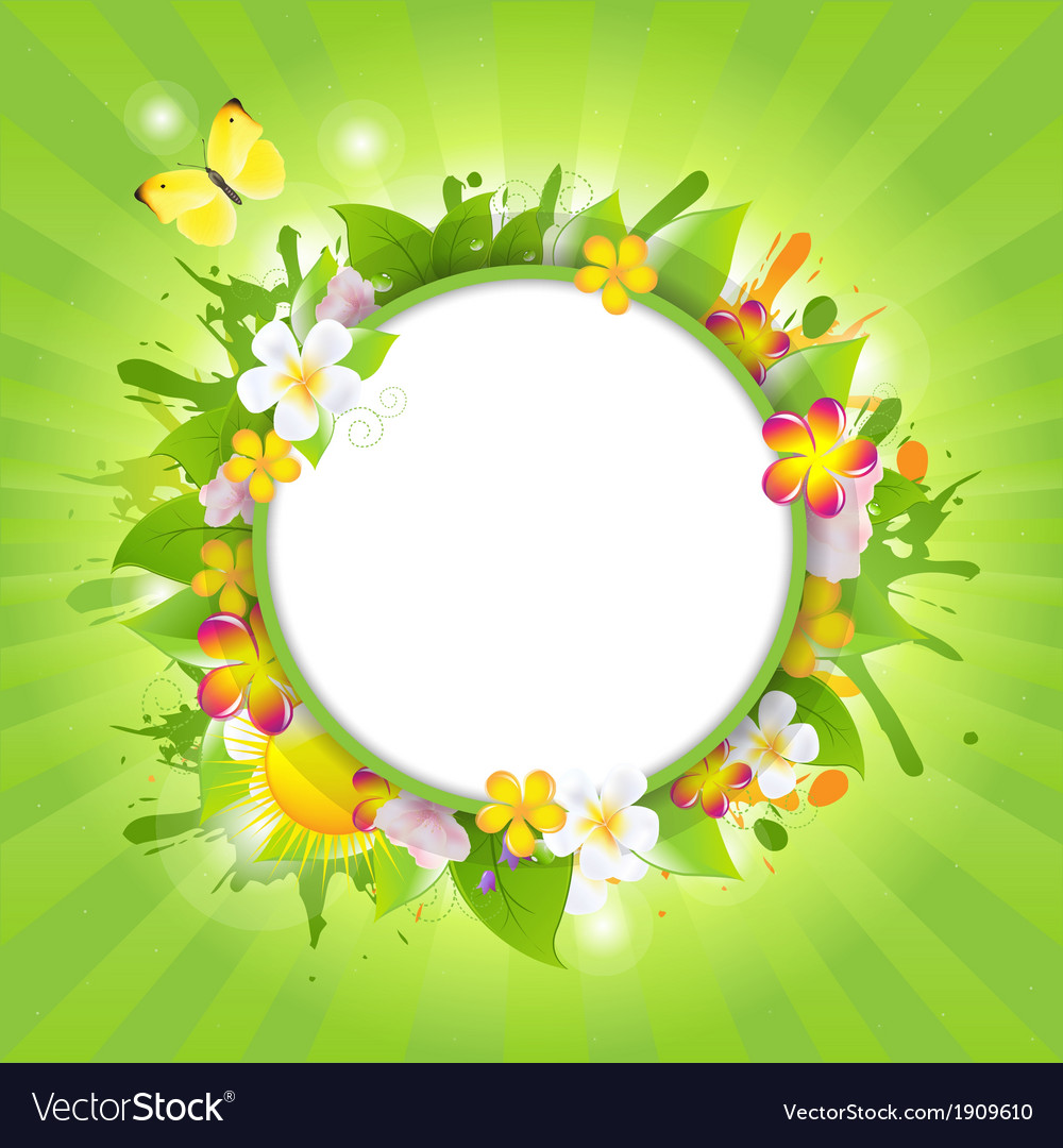 Summer poster with flowers vector | Price: 1 Credit (USD $1)