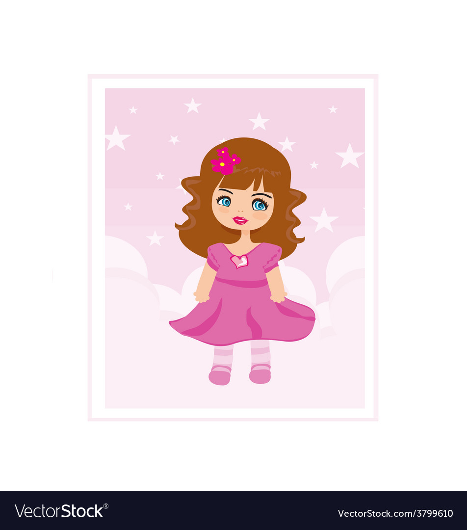 Sweet little girl card vector | Price: 1 Credit (USD $1)