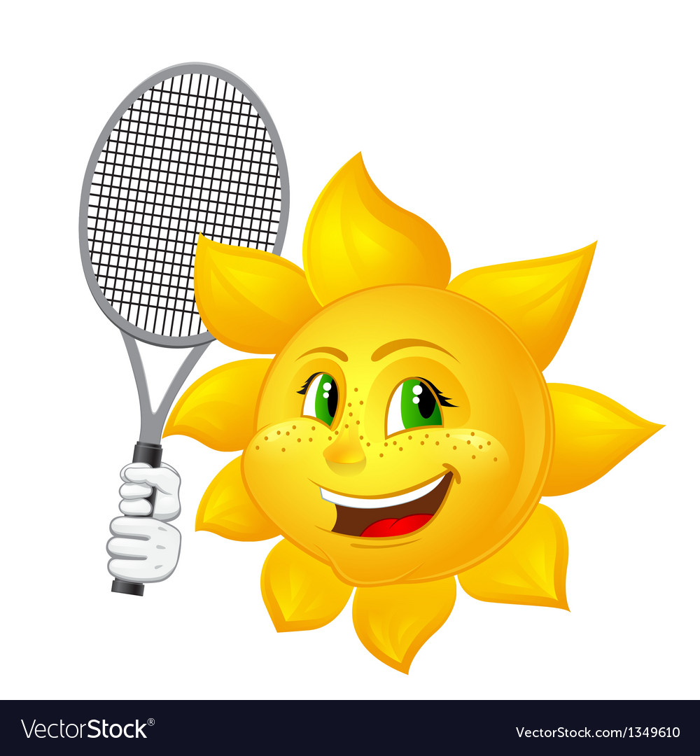 Tennis player sun with racket vector | Price: 1 Credit (USD $1)