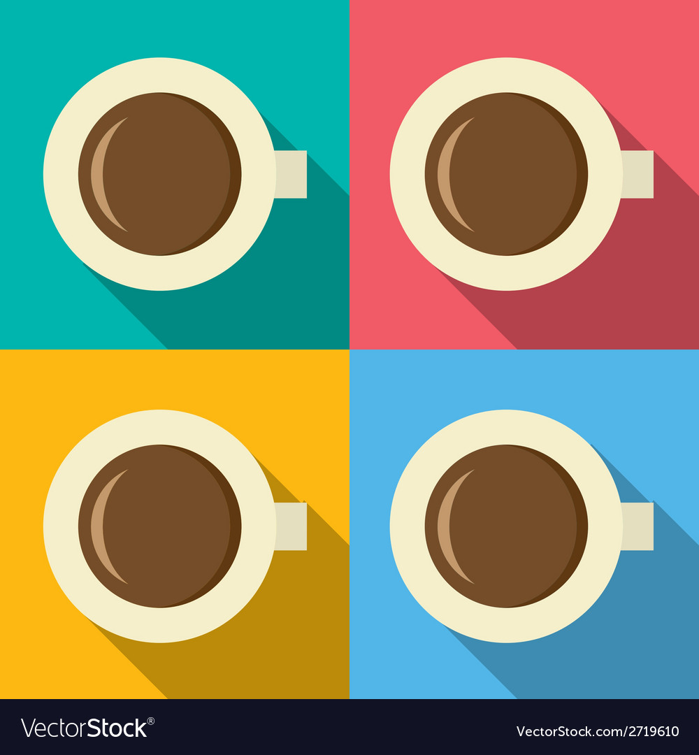 Top view of hot coffee mug on colorful background vector | Price: 1 Credit (USD $1)
