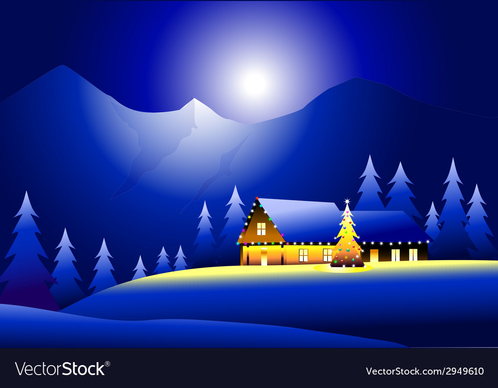 Winter landsacpe and happy christmas vector | Price: 1 Credit (USD $1)