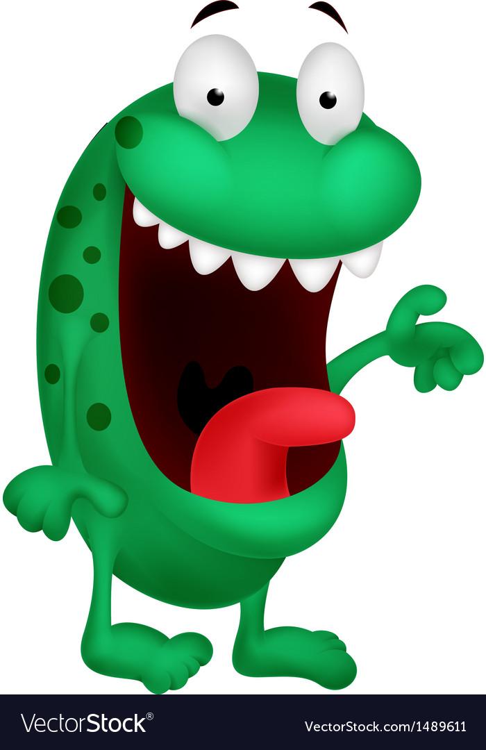 Cute green monster cartoon vector   Price: 1 Credit (USD $1)