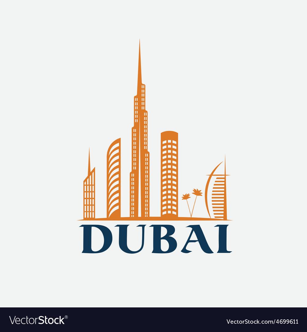Dubai city skyline design template vector | Price: 1 Credit (USD $1)