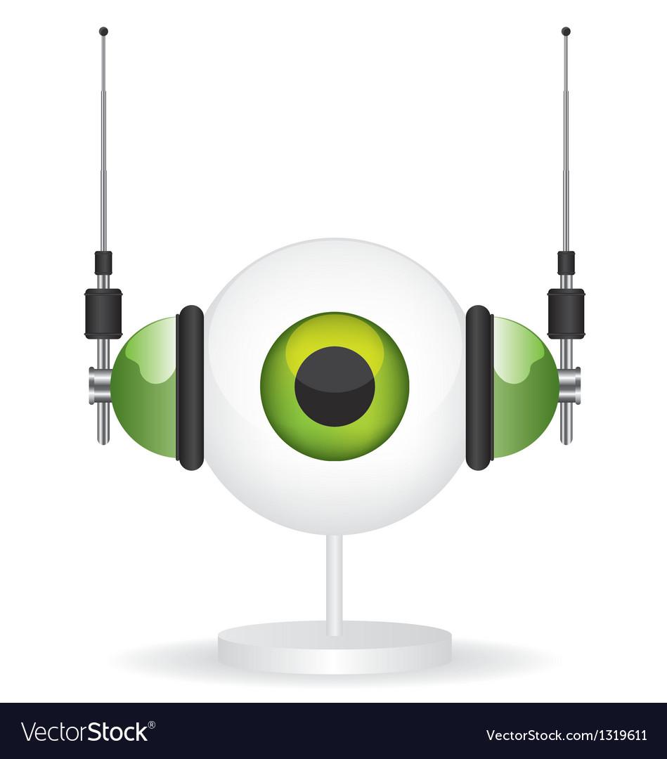 Eye green camera and headphones vector   Price: 1 Credit (USD $1)